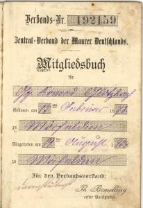 Mitgliedsbuch von Konrad Glotzbach im