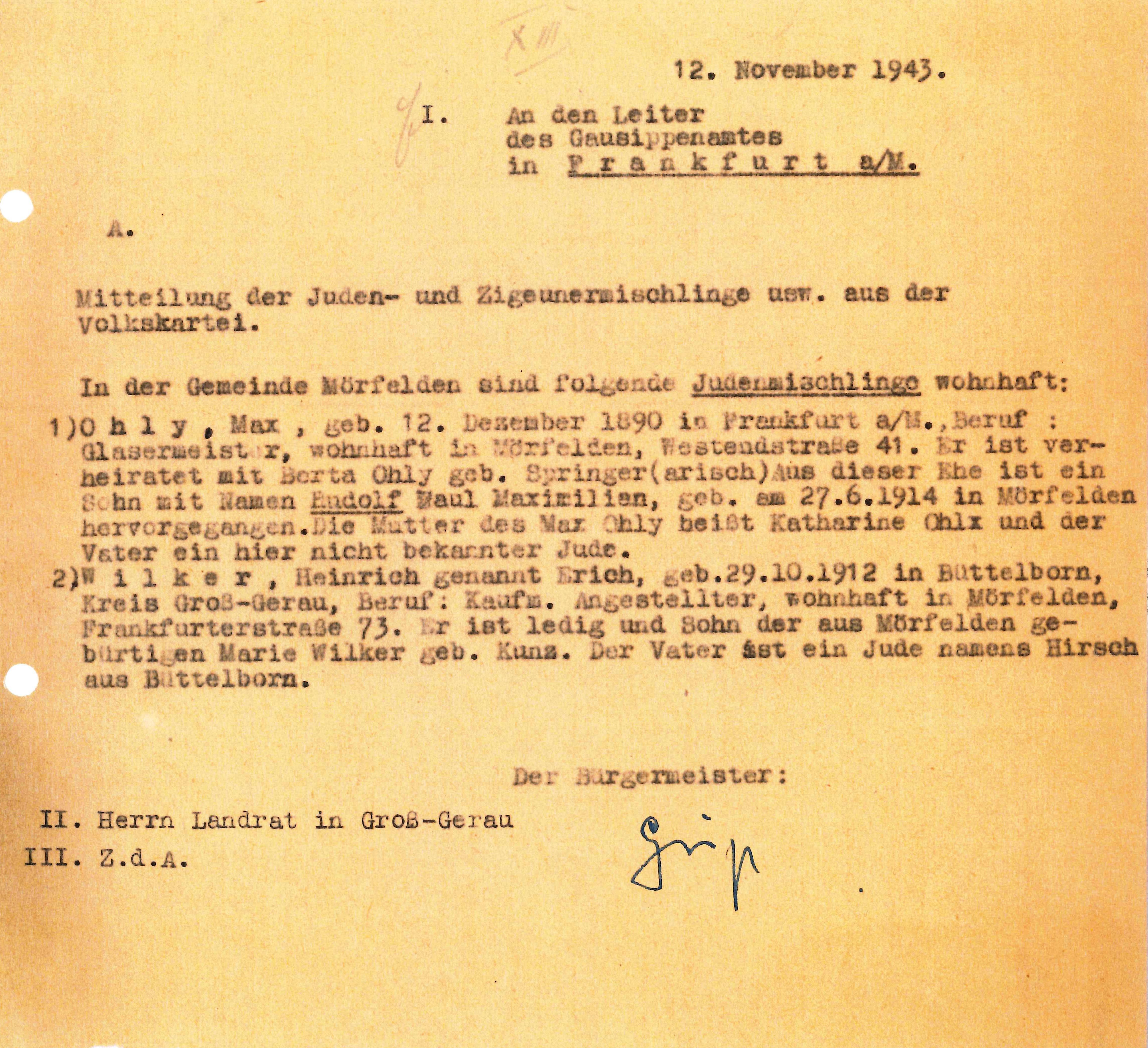 Meldung des Mörfelder Bürgermeisters Geiß vom 12. Nov. 1943 betr.