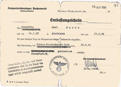 Entlassungsschein von Karl Hardt KZ Buchenwald, 24. Juni 1940