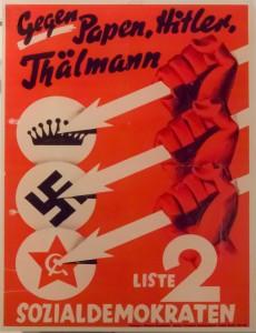 SPD-Plakat zur Reichstagswahl am 6. November 1932. Die Partei erhält damals in Mörfelden 18,4 %; dies entspricht in etwa dem reichsweiten Ergebnis (20,4 %). Doch bei der KPD (Thälmann) und NSDAP unterscheiden sich die lokalen Ergebnisse gravierend von denen des Reiches. In Mörfelden erhält die KPD 61 % - reichsweit nur 17 %. Die NSDAP bekommt hier 15,6 %; reichsweit aber ist sie mit 33 % stärkste Fraktion.