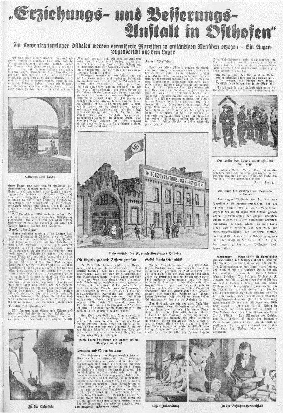 """Der Zeitungsbericht der gleichgeschalteten NS-Presse über das KZ Osthofen singt eine Lobeshymne auf den Erziehungsanspruch der Nationalsozialisten. Dies kann nur glauben, wer es glauben will. Die Gewalt gegen Regimegegner ist bekannt. Die Häftlinge berichten, dass sie permanent geschlagen oder erniedrigt wurden. Anfangs mussten sie auf dem kalten Zementboden schlafen. Aus: """"Niersteiner Rheinwarte"""" vom 22./23. April 1933"""