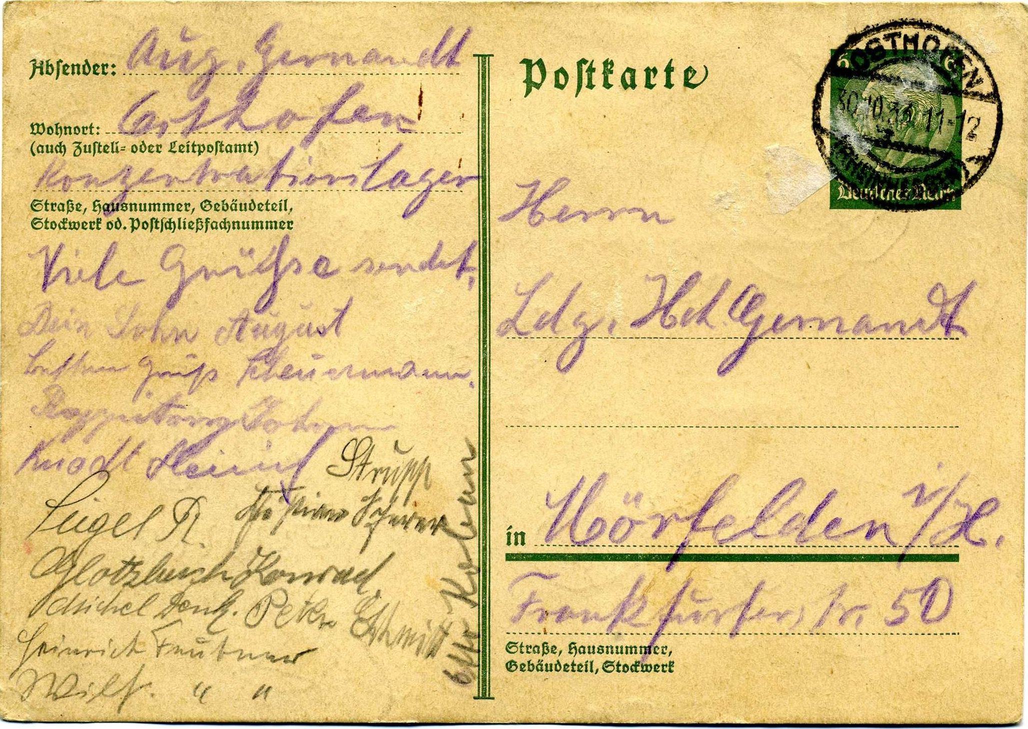 Tafel 2 Foto 8 Postkarte aus Osthofen Gernandt
